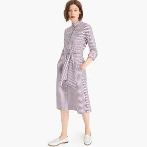J. Crew Tie-Waist Shirt Dress Red Blue Stripes